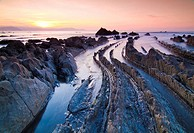 Barrika beach at sunset, Biscay, Basque Country, Spain