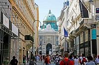 Kohlmarkt street with the view of the Hofburg Palace, Vienna, Austria