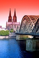 Germany Cologne Hohenzollern Brücke and Cologne Cathedral