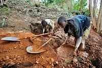 Miners working in anartisanal coltan open_pit mine, Muhanga coltan mines, Rwanda, Africa