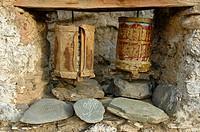 Old Tibetan prayer wheels at Lama Yuru monastery Ladakh, India