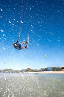 Man kiteboarding in Maui, Hawaii