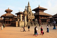 Nepal, Kathmandu Valley, Bhaktapur, Durbar Square, general view