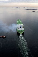 LNG (Liquified Natural Gas) tanker aerial view, Boston harbor, Massachusetts, USA