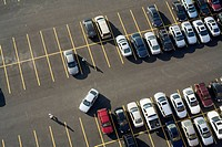 Parking lot on Fan Pier in the morning, Boston, Massachusetts, USA