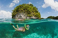 Tourist snorkeling at Palau, Micronesia, Palau