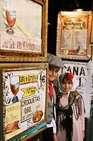´Chulapos´ at ´El Rey del Pimiento´ restaurant in Calle Segovia, Feria de San Isidro, Madrid, Spain