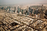Sheik Zayed Road in Dubai from the Air, Dubai, United Arabian Emirates