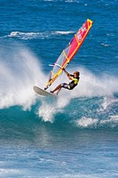 Boy windsurfing on Maui, HI