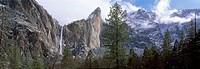 Bridal Veil Falls in Winter, Yosemite National Park, Mariposa County, California, U.S.A.