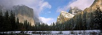 Gates of the Valley in Winter, Merced River, El Capitan, Cathedral Rocks, Yosemite National Park, Mariposa County, California, U.S.A.