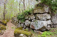 The archaeological site called Orto della Regina, where traces of the Megalithic Sannite wall remain  mount frascara  roccamonfina  province of casert...