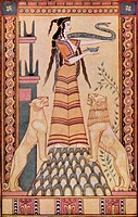 The Snake Goddess of Crete after the painting by John Duncan  Colour illustration from the book Myths of Crete and Pre-Hellenic Europe by Donald A Mac...