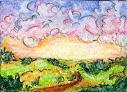 ´Clearing Storm´ 2 5 x 3 5 inch, oil pastel on paper