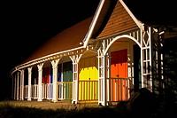 Beach huts at an English seaside resort