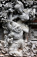 A sculture of   Balinese Hindu figures in Ubud, Ball.