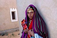 Portrait of girl wearing traditional dress, Ghadamis, Libya