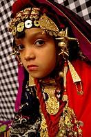 Portrait of a little girl wearing traditional dress, Ghadamis, Libya