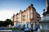 Urban landscape  Bernardin square  Lviv  Ukraine