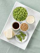 Soy milk, tofu, soy beans, edamame and soy sauce