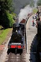 England West Yorkshire Haworth Station on the Keighley & Worth Valley Railway with Locomotive No 957