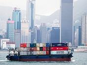 Ships in the harbor in Hong Kong, China