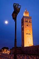 Morocco Marrakesh Koutoubia Mosque at night