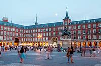 Plaza Mayor at dusk. Madrid, Spain.