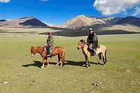 Nomad horsemen. Altai Republic, Siberia, Russia, Asia