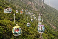 Cable cars connecting Low Land and High Land in Ocean´s Park, Hong Kong, HKSAR