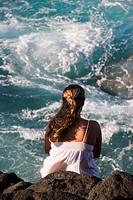 Beautiful waters surrounding Queen´s Bath in Princeville, Kauai, Hawaii, USA