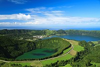Sete Cidades crater and Santiago lake  Sao Miguel island, Azores islands, Portugal
