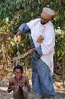 Baptism ceremony. Church of Debre Sina Maryam. Gorgora. Lake Tana. Ethiopia.
