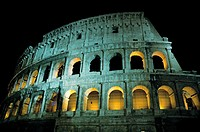 Via dei Fori Imperiali  Night view of the Colosseum in Rome  Italy