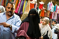 Busy street scene in the crowded markets of Cairo, Egypt.