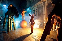 Night time street performers Bilboa Spain