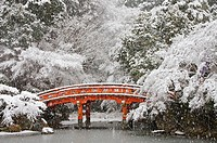 This is a view of a Japanese bridge near Bentendo Hall of the Daigoji complex, which is dedicated to Benzaiten Sarasvati the goddess of knowledge and ...