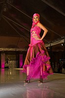 A fashion show of Takasami designer Maria Rosario Mendoza at the Cabañas Cultural Institute in the historic center of Guadalajara, Mexico