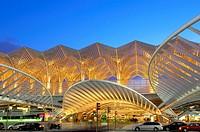 Oriente railway station by Santiago Calatrava at Dusk, Gare do Oriente at dusk  Parque das Nações  Lisbon, Portugal