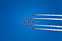 England Devon Royal Air Force Red Arrows aerobatics display at Dartmouth Regatta