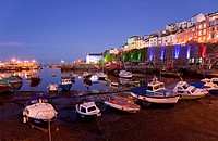 England Devon Brixham Marina at night