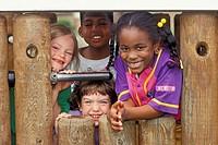 Detroit, Michigan - Elementary school children on the playground at Friends School in Detroit  MR