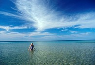 Pictured Rocks National Lakeshore, Michigan - Susan Newell swims in Lake Superior at Pictured Rocks National Lakeshore in Michigan´s Upper Peninsula  ...