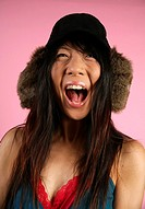Asian-American woman screaming