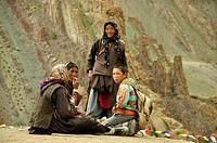 Nómadas en la región de Stok, entre Mankarmo y Stock  Ladak India