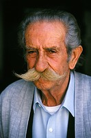 Portrait of old Greek man with moustache, Greece