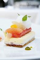 Greece, Athens, restaurant Spondi, chef Arnaud Bignon 2* chef , dessert by Chef pastry Vincent Doidy.