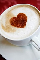 Cappuccino originated as a beverage in 19th century Vienna cafés, with chocolate heart