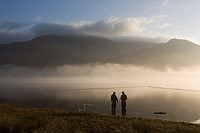 Fishermen at Bassenthwaite Lake, Cumbria, England
