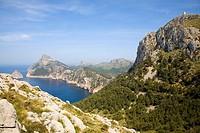 View of Formentor Cape in Serra de Tramuntana coast (Colomer bay and islet). Mallorca. Balearic Island. Spain